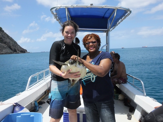me and Jessica (STENAPA turtle program coordinator, and WIDECAST country coordinator) with the first turtle we caught at St. Eustatius, a small juvenile green turtle