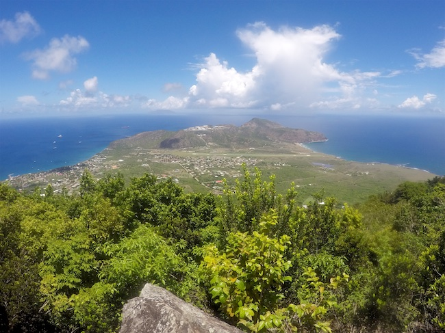 "Comparison between the Atlantic Windward (right) side and the Caribbean Leeward (left)left side of the island. Photo taken from the panoramic viewpoint on top of the ""Quill"" (rim of the dormant volcano)"