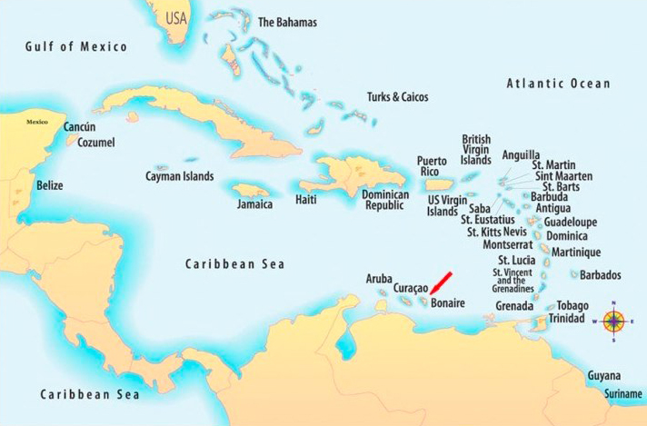 Map Bonaire in Caribbean